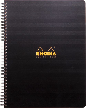 Rhodia A4+ Office Meeting Book, 80 Blatt, Hardcover, Schwarz, Mit Vordruck